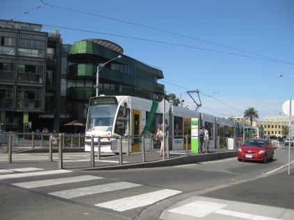 The tram leaving St Kilda