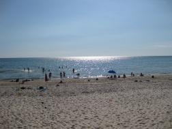The sun shimmering over Hendley Beach