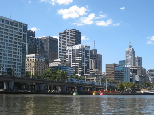 The train out of Flinders St, taken from the river Yarra