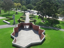 A WW1 Trench shaped walkway leading to the Shrine of Remembrance