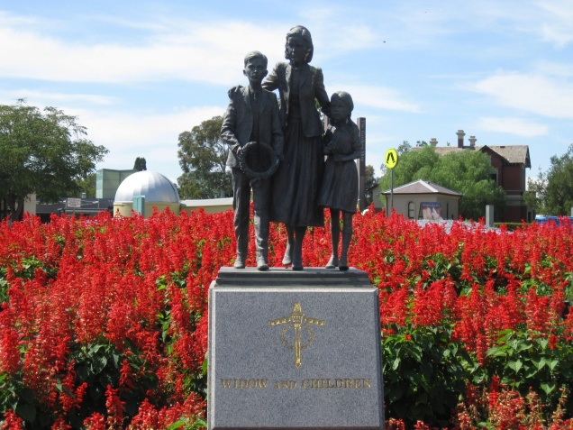 Widow and Children Statue at the Shrine of Remembrance