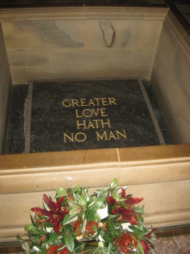 'Greater Love Hath No Man' marble stone of remembrance