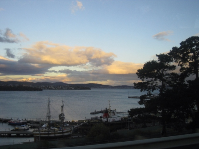 The one picture of Hobart I managed to capture on the Airport shuttle bus before it got dark!