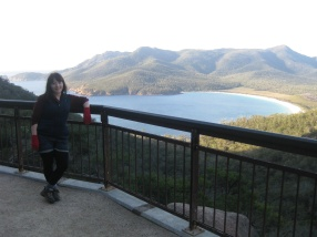 Me, my red gloves and wineglass bay