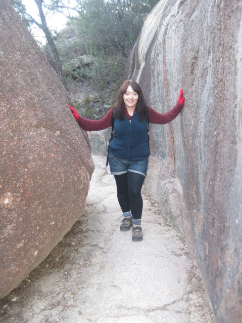 Me with the red gloves about to embark on Wineglass Bay climb