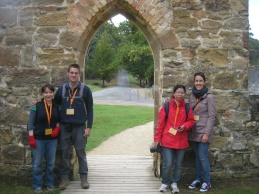 Me, Markus, Joyce and Emma in the church at Port Arthur