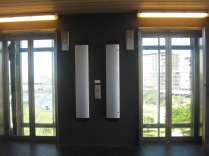 The elevators from the bridge to the waterfront