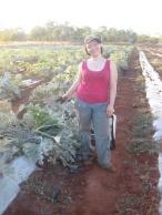 Me spraying zucchini plants