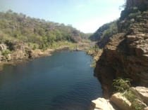 Looking down on the pool at Edith Falls