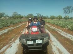 Me and fellow wwoofers quad biking around the farm!