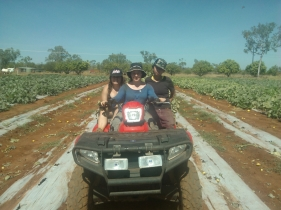 Me and fellow wwoofers quad biking around the farm!