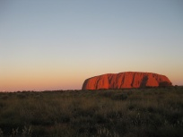 A red Uluru by sunset