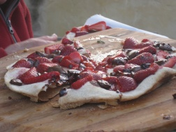 Strawberry and chocolate desert pizza