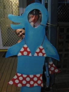 George in a bikini being photo bombed by Sarah in Bunbury
