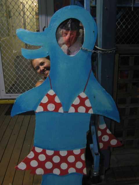 George in a bikini being photo bombed by Sarah in Bunbury