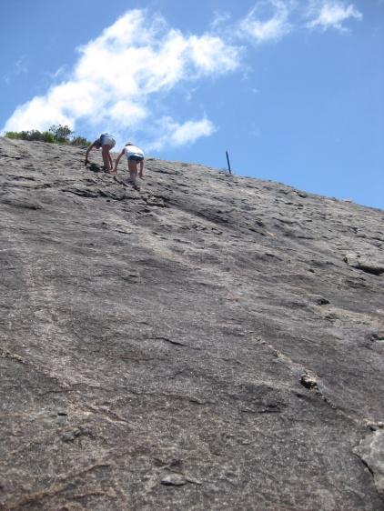 People climbing Frenchman's Peak