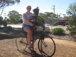 Sarah on a bike