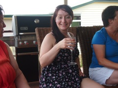 Me happy with wine on Christmas Day