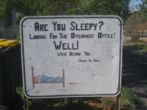 The sign we were faced with at Tara Caravan Park
