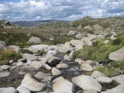 Snowy mountain rocks