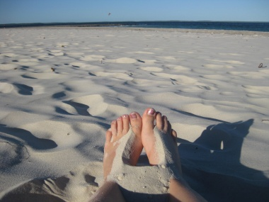 Feet on the whitest sand in the world