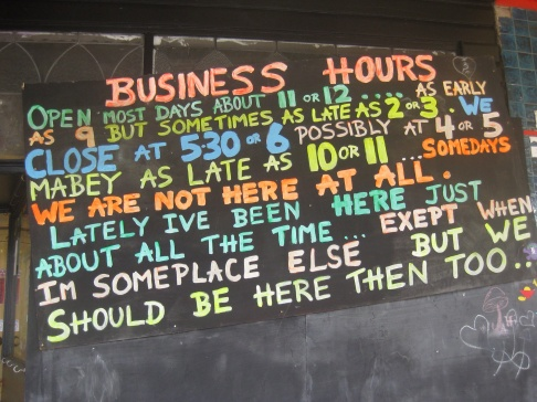 Nimbin Business hours