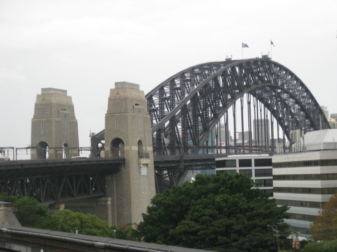 The view of Harbour Bridge from the train on a usual Sydney overcast day