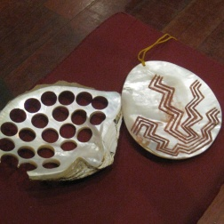 Mother of pearl shells being used for buttons