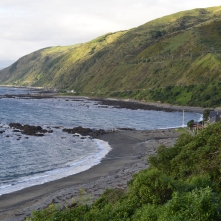 Pukerua Bay with the road out of Wellington in the distance